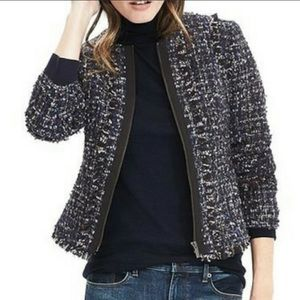 BANANA REPUBLIC Blue/Black Metallic Tweed Blazer